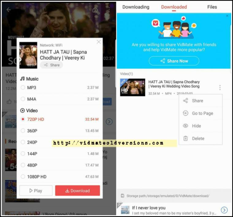 Vidmate Old Version App apk download